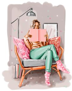 Girl with book Art Print by Big.Lab - X-Small Makeup Illustration, Friends Illustration, Illustration Girl, Best Friend Drawings, Fashion Wall Art, Chanel, Drawing Reference Poses, Mermaid Art, Bedroom Art