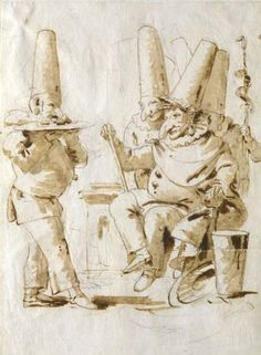 Favorite work of art from the Verona museum. Title: Omaggio a Pulcinella Artist: Giambattista Tiepolo Trieste, European Paintings, Classic Paintings, Baroque Painting, Caricature, Artist Sketchbook, Grand Palais, Italian Artist, Art Graphique