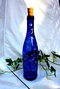 Wine Bottle Blue Smoking Bottle Incense by ShopOfMiscellaneous