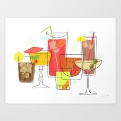 """Swanky Summer Coolers"" drinks are on me at my shop! https://society6.com/product/swanky-summer-coolers_print#s6-4635353p4a1v45 #illustration #vintage #coctails #whiskey #martini"