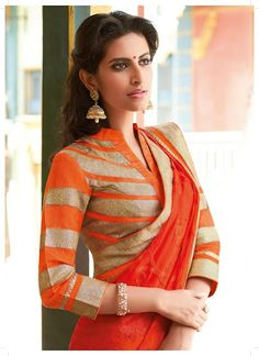 Orange Saree #saree #sari #blouse #indian #hp #outfit  #shaadi #bridal #fashion #style #desi #designer #wedding #gorgeous #beautiful