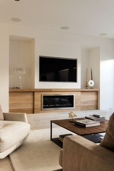 Best Modern Fireplace TV Wall Layouts : Stunning Best Fireplace TV Wall Ideas – The Good Advice For Mounting TV above Fireplace – Modern living room with electric fireplace enclosed under TV wall Image 34 Contemporary Fireplace, Room Design, House Interior, Fireplace Design, Home, Living Room Tv, Contemporary Fireplace Designs, Family Room Design, Living Room With Fireplace