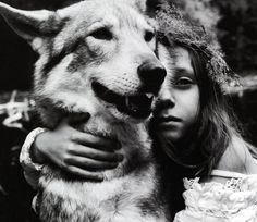 black and white, dog, friends, girl, wolf