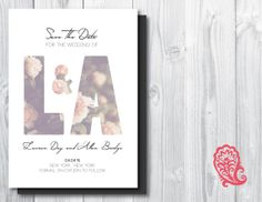 Floral Initials Save the Date from Paisley Prints, available on Etsy, $30.00 customizable design