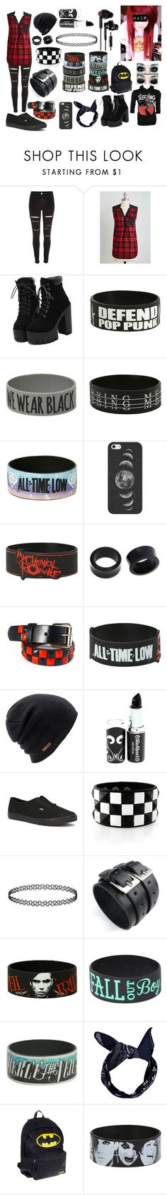 """Red Scene/Emo"" by abipatterson ❤ liked on Polyvore featuring River Island, Hot Topic, Coven, Casetify, NOVICA, Coal, Vans and Yurbuds"