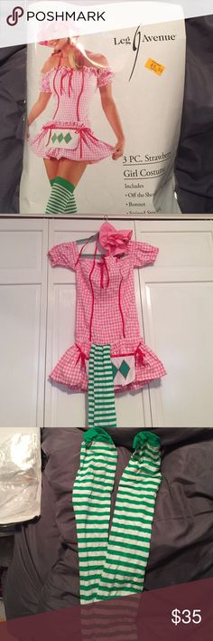 Women's strawberry shortcake Halloween costume Sexy/cute strawberry shortcake Halloween costume. Size M. Includes dress, bonnet, and green/white striped knee high stockings. Only worn twice! Great condition! Other