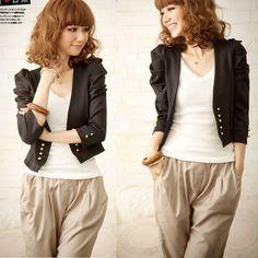 De moda femenina de la manga de hojaldre doble- pecho pequeo slido casual bolero chaqueta recortada ropa exterior de abrigo talla s negro envo gratis 0808