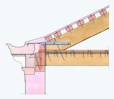Rilievo del nodo costruttivo tra la sommità muraria e l'orditura del tetto di una fabbrica lagunare. Palazzo Grimani a Santa Maria Formosa. Prima metà del XVI secolo.
