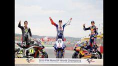 2010. Marc Marquez (125), Toni Elias (250) and Jorge Lorenzo (MotoGP), three world champions.
