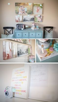 nice canvass photo arrangement on the wall above the dresser. she even writes what sizes to buy to make it.