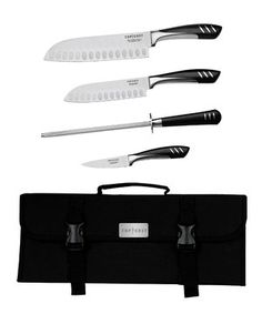 Officially licensed by Top Chef, these santoku knives combine the best of eastern and western styles for an unmatched kitchen essential. The ice-tempered, stainless steel blades have a precision-cut, hollow-ground sharpened cutting edge. Scalloped air pockets reduce friction while the smooth handles feel comfortable in hands. Use the knife sharpener to maintain a fine edge, so slicing through tomatoes and onions can be done with absolute ease.