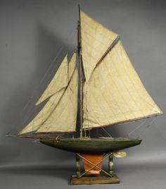 Carved gaff rigged vintage pond yacht with original makers labels from Seaworthy Boats
