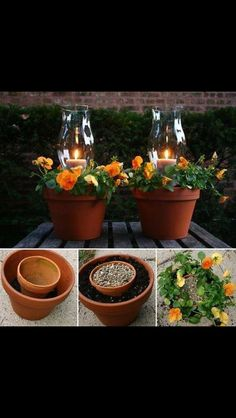 Clay pots turned into lanterns with candles and flowers for patio or outdoor areas. Outdoor Projects, Garden Projects, Garden Crafts, Diy Projects, Container Gardening, Gardening Tips, Balcony Gardening, Fairy Gardening, Urban Gardening