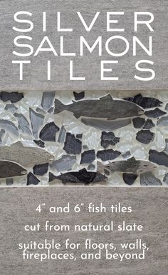 Our stunning silver slate salmon tiles can be installed on any tileable surface. Surround with pebbles, glass, or other tiles to create your own unique design. Backsplash Tile, Wall Tiles, Tile Fireplace, Shower Tile Designs, Unique Colors, Slate, Tile Floor, Salmon, Surface