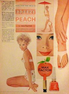 Max Factor 'Breezy Peach' Lipstick & Nail Satin Polish Ad, 1962