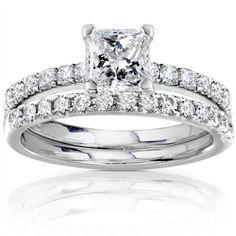 Princess-cut diamond bridal ring set14-karat white gold jewelryClick here for Ring Sizing Chart