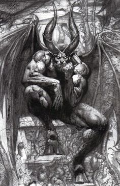 """a modern interpretation of Lucifer after Christianity became the dominant religion and paganism became outlawed or deeply frowned on: """"Lucifer on the throne in Paradise Lost"""" by Simon Bisley Arte Horror, Horror Art, Dark Fantasy, Fantasy Art, Simon Bisley, Satanic Art, Creation Art, Demon Art, Angels And Demons"""