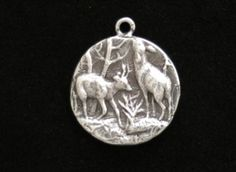 Sterling-silver-bracelet-Deer-In-Winter-picture-pendant-coin-WITH-18-chain