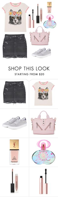 """""""Untitled #599"""" by elizabeth-buttery ❤ liked on Polyvore featuring MANGO, Gucci, Barbour, Kenzo, Yves Saint Laurent, Salvatore Ferragamo, Burberry and Too Faced Cosmetics"""