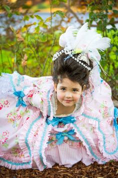 DIY 18th Century Robe a la Francaise for my 3.5 year old daughter who wanted to be a Rococo princess for Halloween.   The entire costume  (with the exception of trimmings) is made from vintage thrifted bed sheets.