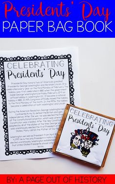 Presidents' Day | Activities | George Washington | Abraham Lincoln | For Kids | Elementary School | Social Studies | 1st | 2nd | 3rd | 4th | Classroom | Teacher | Lesson Plan | For School | For Students | School | Paper Bag Book | Holiday