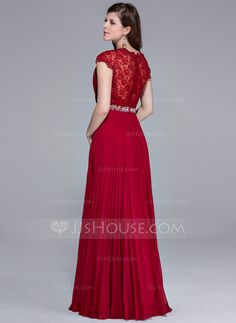 449f9e10e A-Line Princess V-neck Floor-Length Chiffon Lace Evening Dress With Beading  Pleated (017025540)