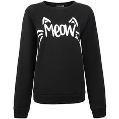 Jubileens Women's Cute Cat Face and Meow Letter Print Sweatshirt... ($16) ❤ liked on Polyvore featuring tops, hoodies, sweatshirts, cat, cat print top, cat print sweatshirt, cat top, sweater pullover and pullover tops