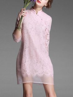 Sicheng.Lisha Toggle button Pierced Lace Mini Dress $76.00