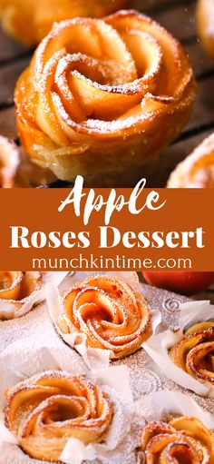 Romantic Apple Rose Dessert with video recipe on how to make this delicious goodness. Made of delicious red apples, apricot jam , cinnamon and puff pastry sheet. Garnished with powdered sugar. Enjoy with hot coffee or tea! Apple Recipes With Puff Pastry, Apple Rose Pastry, Puff Pastry Desserts, Apple Dessert Recipes, Köstliche Desserts, Apple Recipe Pastry, Apple Tart Puff Pastry, Puff Pastries, Puff Recipe