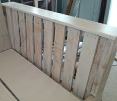 Arm of the daybed shows the pallet wood - after it was stained, lightly sanded and finished with a satin urethane.