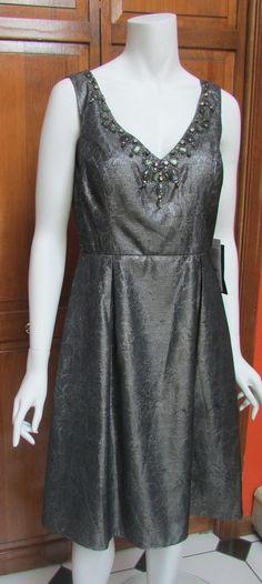 JS Boutique Metallic Pewter Jeweled Neckline Sleeveless Dress Sz 8 NWT  $198 #JSCollections