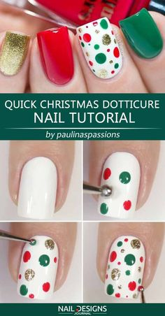 So Simple Christmas Nail Art Ideas You Have To Try - Quick Christmas Dotticure Nail Tutorial ❤ 25 Charming Christmas Nail Art Ideas You'll Adore ❤ - Nail Noel, Xmas Nail Art, Cute Christmas Nails, Xmas Nails, Christmas Nail Art Designs, Holiday Nails, Diy Nails, Manicure Ideas, Snowman Nail Art