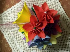 Kusudama Bright And Beautiful Origami Paper Flower Bouquet Grouping of 10. $20.00, via Etsy.