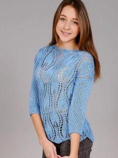 Пуловер узором листья Размер: 36. https://vyazaniye.com/item/pulover-uzorom-listya.html