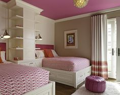 The Chic Technique:  Cute girls bedroom featuring twin beds and hot pink ceiling!  How cute!