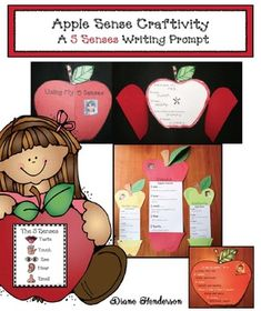 "Apple Activities: You can reinforce a variety of standards with these super-fun ""apple sense"" craftivities, which help students learn about apples as well as the 5 senses. 5 Senses Craft, 5 Senses Activities, Apple Activities, Writing Activities, Opinion Writing Prompts, Writing Skills, Apple Bulletin Boards, Science Writing, Science Crafts"