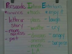 5th grade anchor charts pinterest | What activities do you do to explain author's purpose?