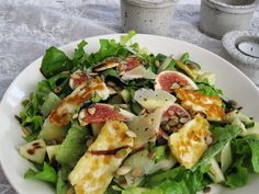 Kotivalossa -blogi, salad with figues, halloum cheece etc.