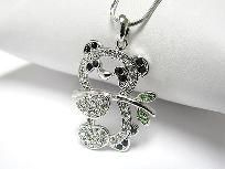 White Gold Plated Pretty Crystal Panda Necklace 2