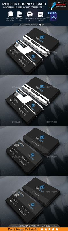 Modern Business Card Template PSD #design