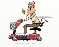 Speed Demon (2014). #Speed #Demon #Cartoon #Oldman #Elderly #Senior #Mobility #Scooter #Race #Middlefinger #Grandfather #Grandpa