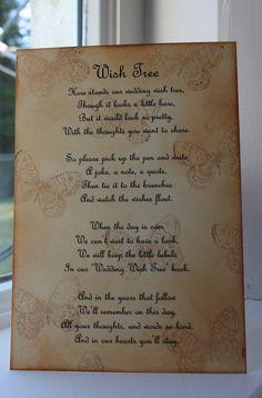 BUTTERFLY-Wedding Wish Tree Poem-Vintage Style-Beautiful Design-Handmade-Unique | eBay