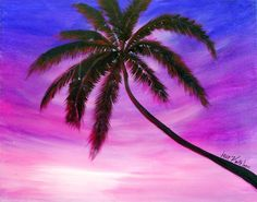 acrylic painting of palm tree | Items similar to Original Modern Palm Tree Beach Acrylic Painting SALE ...