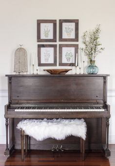 Antique piano, original finish.