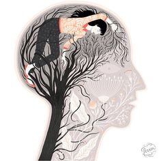 """""""My 'header' (pun only vaguely intended) illustration for a powerful essay on buzzfeed.com where a woman shares her experience of having a stroke at 33."""""""