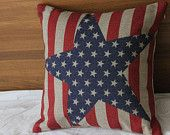 18inch Printing America Flag pillow Case, Cotton Linen Cushion Cover, Bedding Pillow Covers