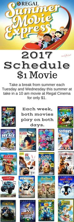 Regal Cinema's Summer Movie Express 2017 schedule is here and it is jammed packed with family favorite movies. Take a break from summer each Tuesday and Wednesday this summer at take in a 10 am movie at Regal Cinema for only $1.