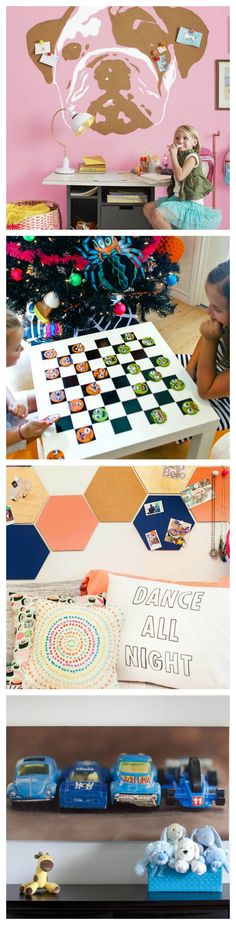 From washi tape wall designs, to chalkboard dressers and toys turned dresser knobs, this gallery gives you 35 fun DIY ways to decorate the kid's room!