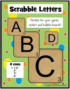 Scrabble Letters! Now on sale...Best price of the season. (Oct. 26-29 2012)  Fabulous for word work, centers, bulletin boards, etc.