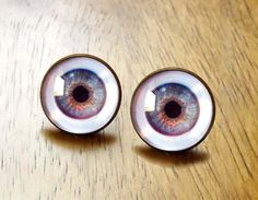 Human Eye Post Stud Earrings Goth Antique Brass Choice of Color
